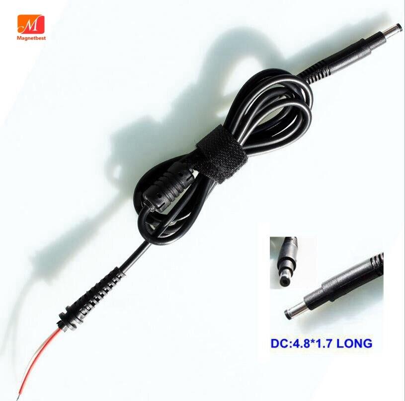 10 Piezas De Cable De Alimentación Cc Conector Largo 4,8x1,7mm Para Adaptador De Ordenador Portátil Hp Cargador Conector Cc 4,8 * Cable Cc Negro Largo De 1,7mm