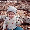 2016 Otoño primavera niña sólido suéter colores bolas niños niños suéter manga larga de punto cardigans niñas ropa 1-4Y