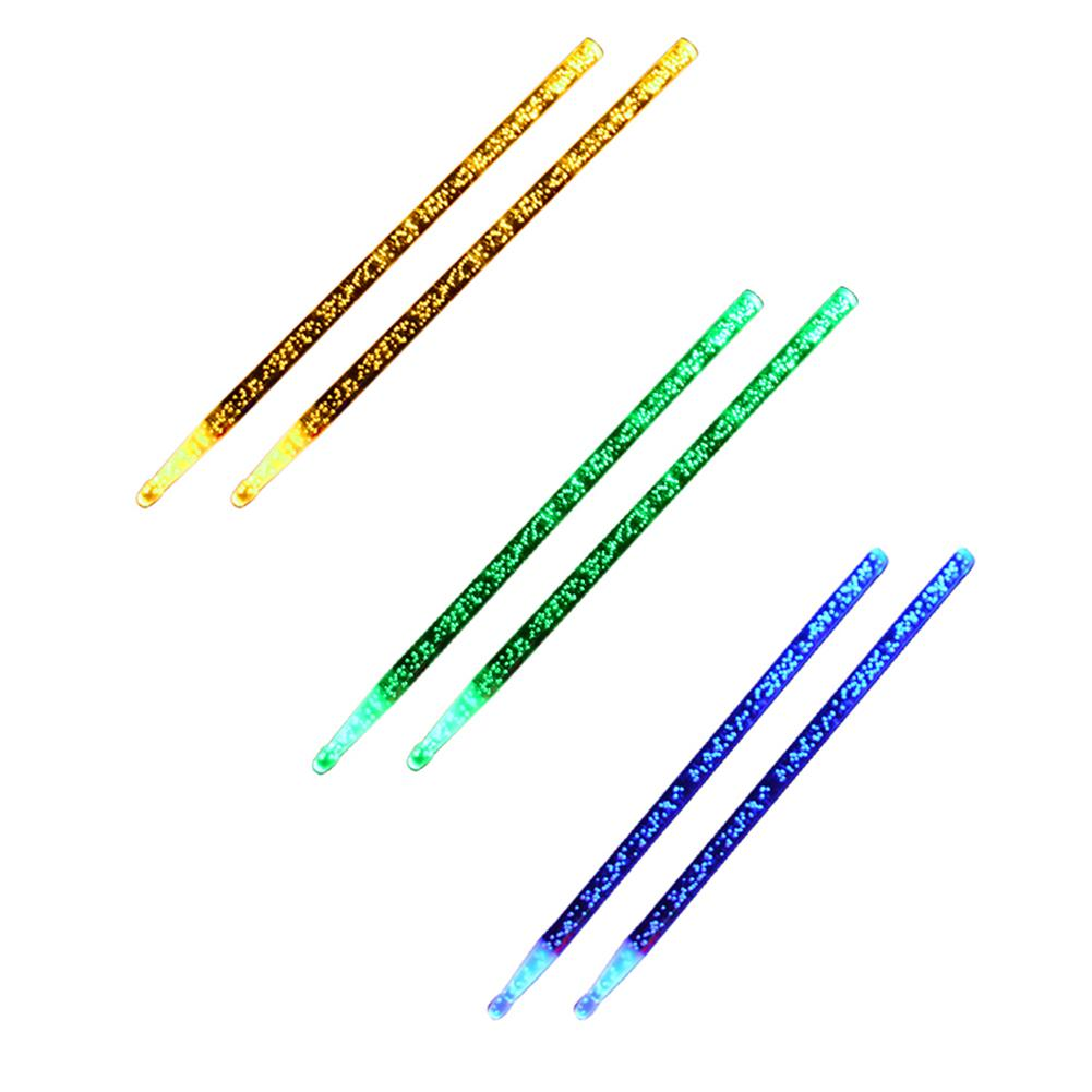 Luminous Drumsticks A Pair Of Acrylic Drumstick Bright LED Light Up Drumsticks Blue Green Yellow