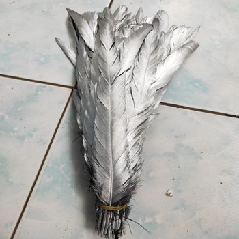 New 100pcs beautiful 30-35cm/12-14 inch Single Silver Rooster Feather Cock Tail Feather Chicken feather Rooster tail feather фото