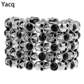 YACQ Skull Skeleton Stretch Cuff Bracelet for Women Biker Bling Crystal Jewelry Antique Silver Color Wholesale Dropshipping D07