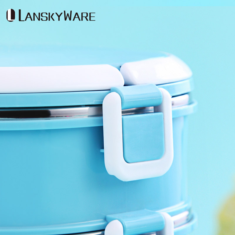 LANSKYWARE Japanese Lunch Box For Kids School Leakproof Stainless Steel Bento Box Thermal For Food Container Children Picnic Set in Lunch Boxes from Home Garden
