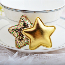 20 pcs/lot Hot sale fashion girls barrettes of quality Pu star accessories brilliant sequins five point fabrics hair clips