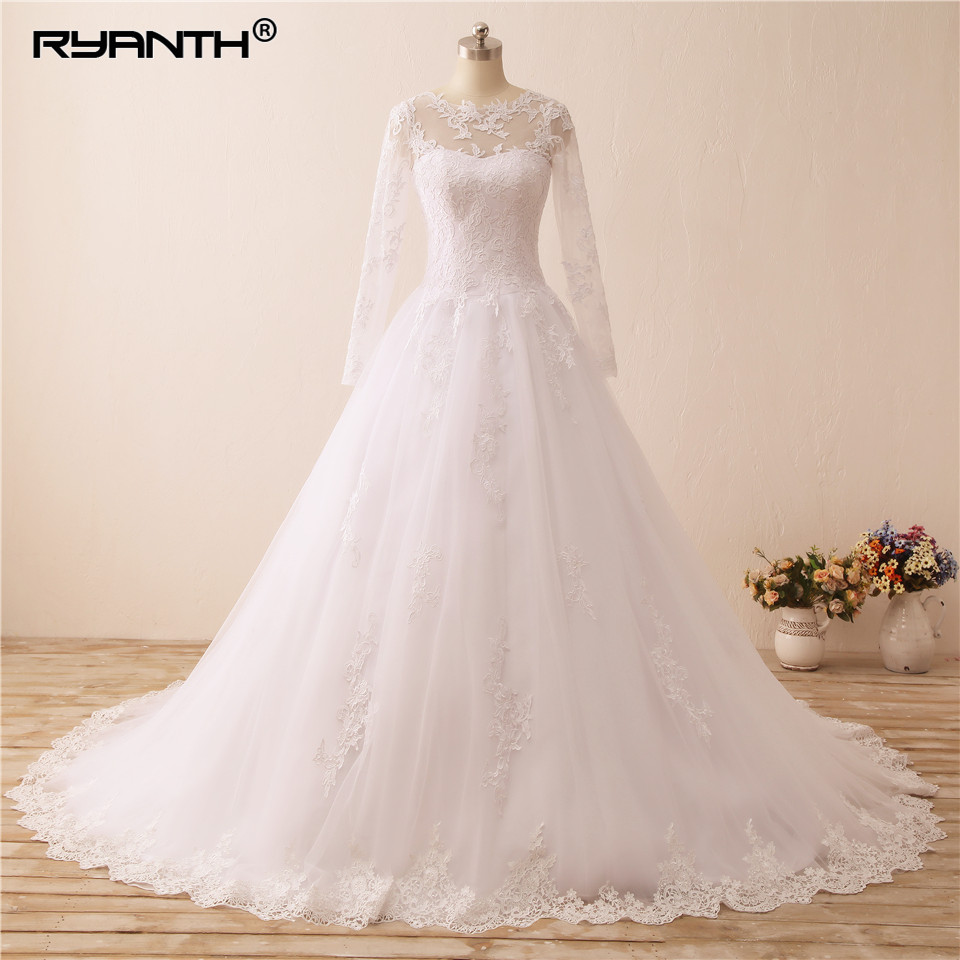 Ryanth Vestido De Noiva Vintage Long Sleeve Wedding Dresses Ball Gown Lace Wedding Gowns Bridal Robe De Mariage 2018
