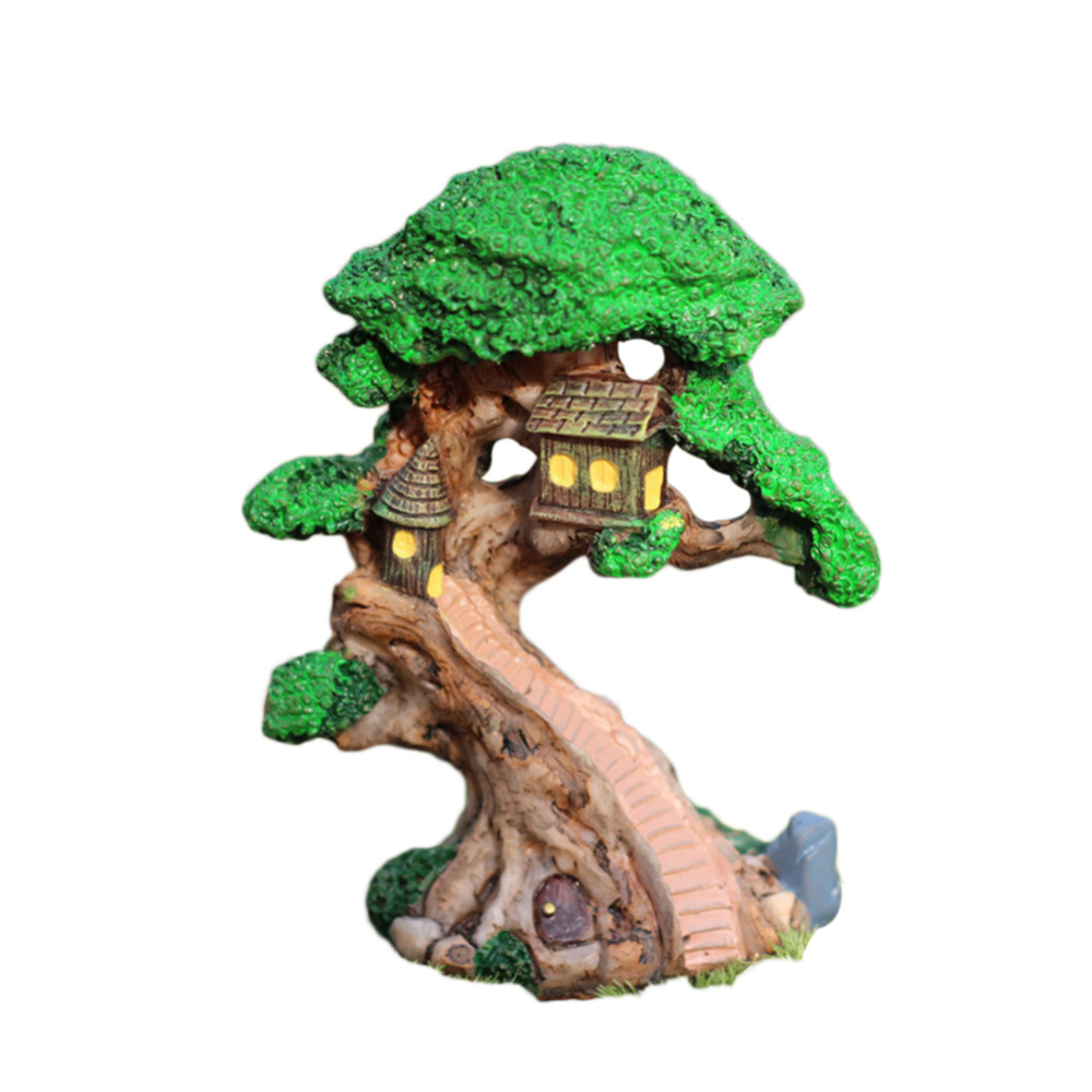 Hot Sale Old Tree House Mini Garden Ornament Miniature Figurine Craft Fairy Plant