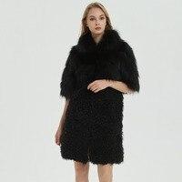 Зимние Женская Мода Меховая Куртка норки пальто ягненка шуба мех лисы Куртка с воротником