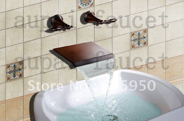 New Oil Rubbed Bronze Bathroom Faucet Vessel Sink Lavatory: Free Shipping! Wall Mounted Bathroom Basin Faucet Oil