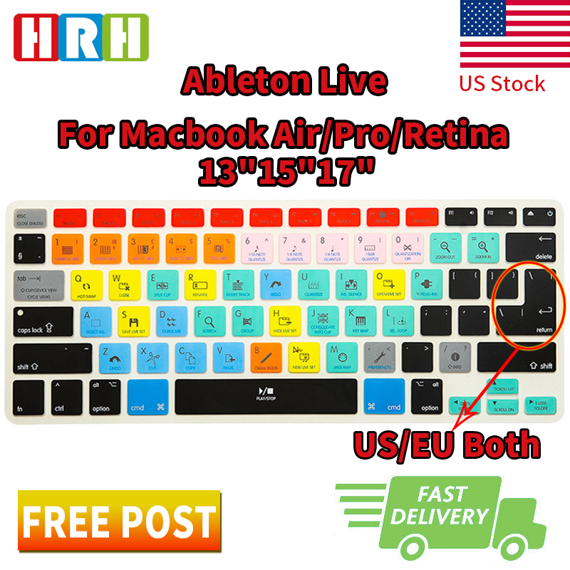HRH Ableton Live Functional Shortcuts Hotkeys Silicone Keyboard Cover Skin Protector For Macbook Air Pro Retina 1315 17