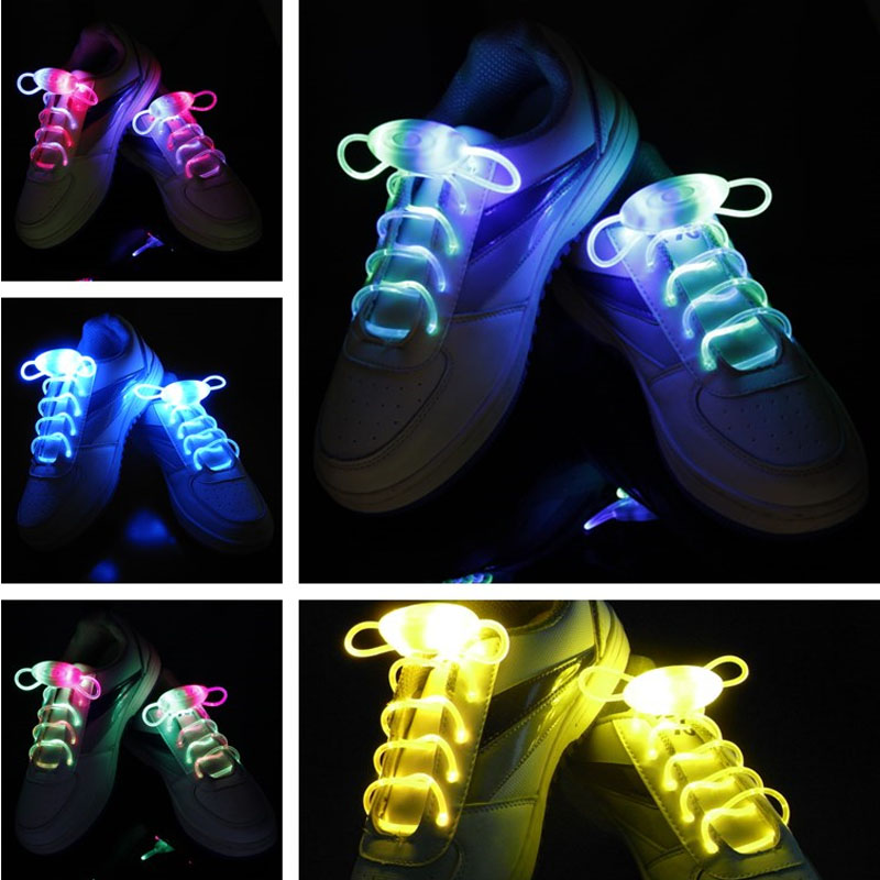 2017 New Arrival Light Up LED Shoelaces Fashion Flash Disco Party Glowing Night Sports Shoe Laces Shoe Strings Multicolors longkeeper 6 colors led light flash baseball caps fashion led lighted glow club party sports black fabric travel hats chapeu