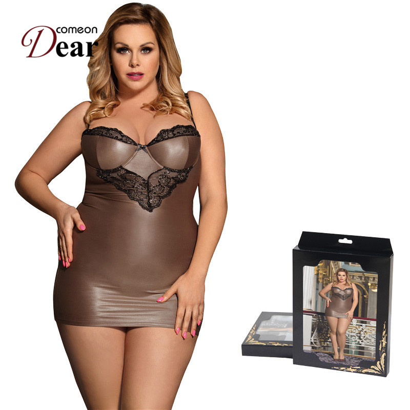 Comeondear Chemise Sexy Night Lingerie For Woman Satin Straps Plus Size Sleepwear Lace Skinny Night Dress Women Langerie RB80278