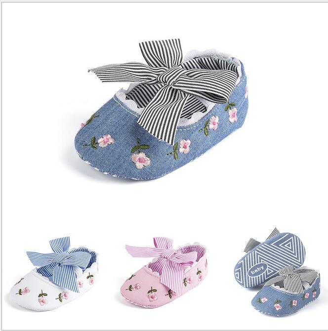 White Baby Girl Bow Shoes Infant  Shoes Newborn Soft Bottom First Walker Shoes