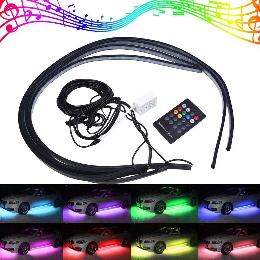 Welback 4 pcs High Intensity Led Glow Light Strip Kit Running RGB Colors Under Car Musical Sync Light Tube Underbody Sound car styling 7 color led strip under car tube underglow underbody system neon lights kit ma8 levert dropship