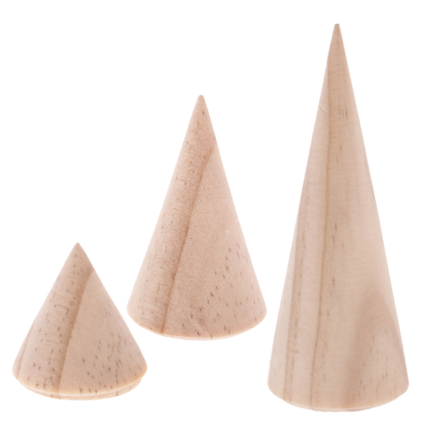 9 Pieces Wholesale Unpainted Plain Cone Wooden Ring Display Stand