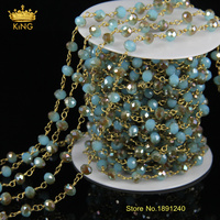5Meter DIY Gold Plated And AB Blue Color Wire Wrapped Beaded Chain Rosary Chain Faceted Crystal