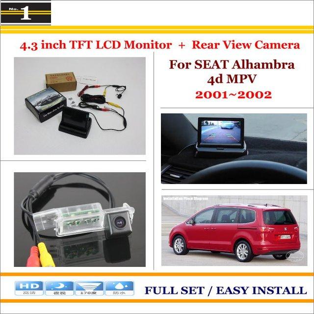 """4.3 """"TFT LCD Monitor + Car Retrovisor Back Up Câmera = 2 em 1 Sistema De Estacionamento-Para SEAT Alhambra 4d MPV 2001 ~ 2002"""