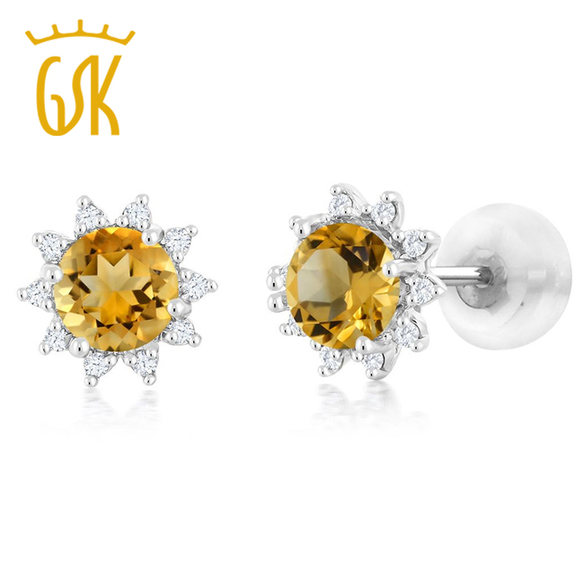 Charms Flower 18k White Gold Diamond Stud Earrings Round 4mm Yellow Citrine Natural Gemstone Jewelry