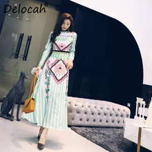 Delocah Women Spring Summer Dress Runway Fashion Designer Long Sleeve Gorgeous Crystal Beading Striped Sequined Printed Dresses