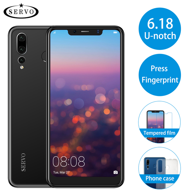 "SERVO P20 6.18"" 18:9 U-notch Display 4G LTE Mobile Phone MTK6739 Android 8.1 Fingerprint Dual Back Camera 8.0MP Smart Cell Phone"