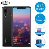 SERVO P20 6.18 18:9 U notch Display 4G LTE Mobile Phone MTK6739 Android 8.1 Fingerprint Dual Back Camera 8.0MP Smart Cell Phone