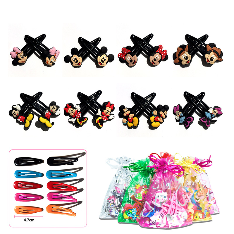 5pairs/lot Mickey Minnie PVC Soft Baby Girl Hair Accessories Hair Clips Hairpins Flatback   Headwear   High Quality Party Best Gift
