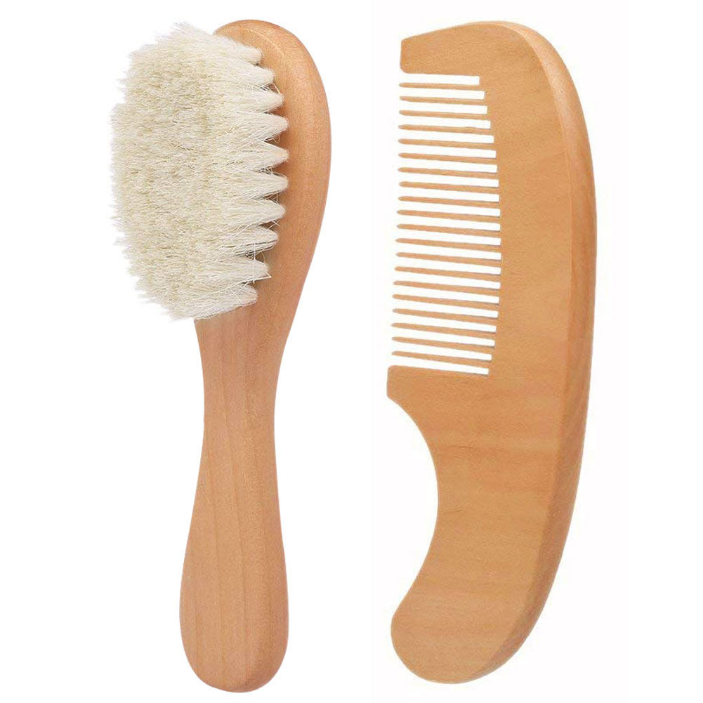 2pcs/ Set Bebe Natural Wooden Comb Hair Brush Care Kids Massage Baby Kit Pure Natural Safety Material For Your Baby's Health