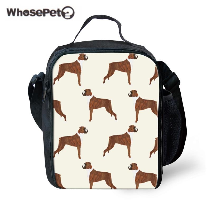 WHOSEPET Lunch Bag for School Children Boxer Dog Printing Food Fruit Storage Kids Shoulder Lunchbox Students Lancheira Escolar