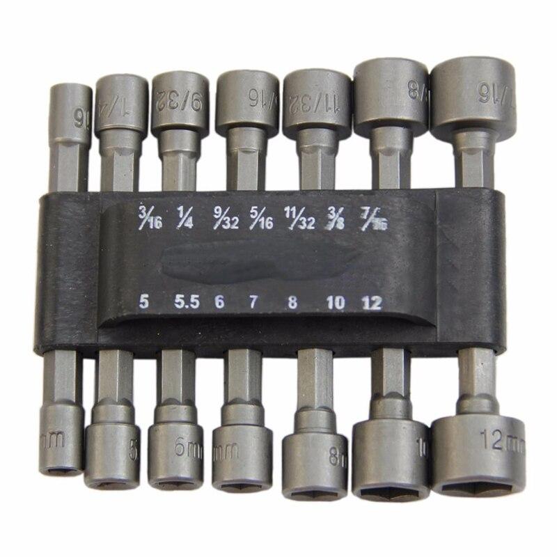 14pc 1/4 Shank Power Nut Driver Set Dual Metric & Standard Screwdrivers Nutdrivers Socket Bits Drill For Powerful Tool 14pc power nut driver drill bit set sae metric socket wrench screw 1 4hex shank