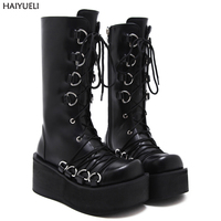 Demonia Style Women Black Boots Casual Mid Calf Wedges Platform High Heel Boots Punk Gothic Shoes
