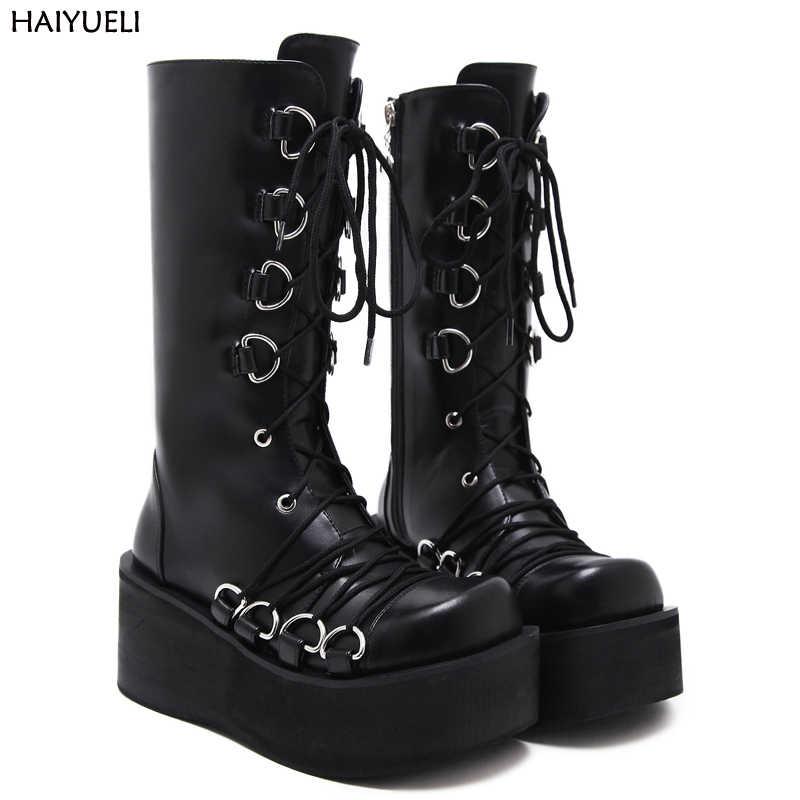 Punk Goth Womens Sweet Lace Up Wedge Heels Platform Zip Shoes Knee High Boots sz