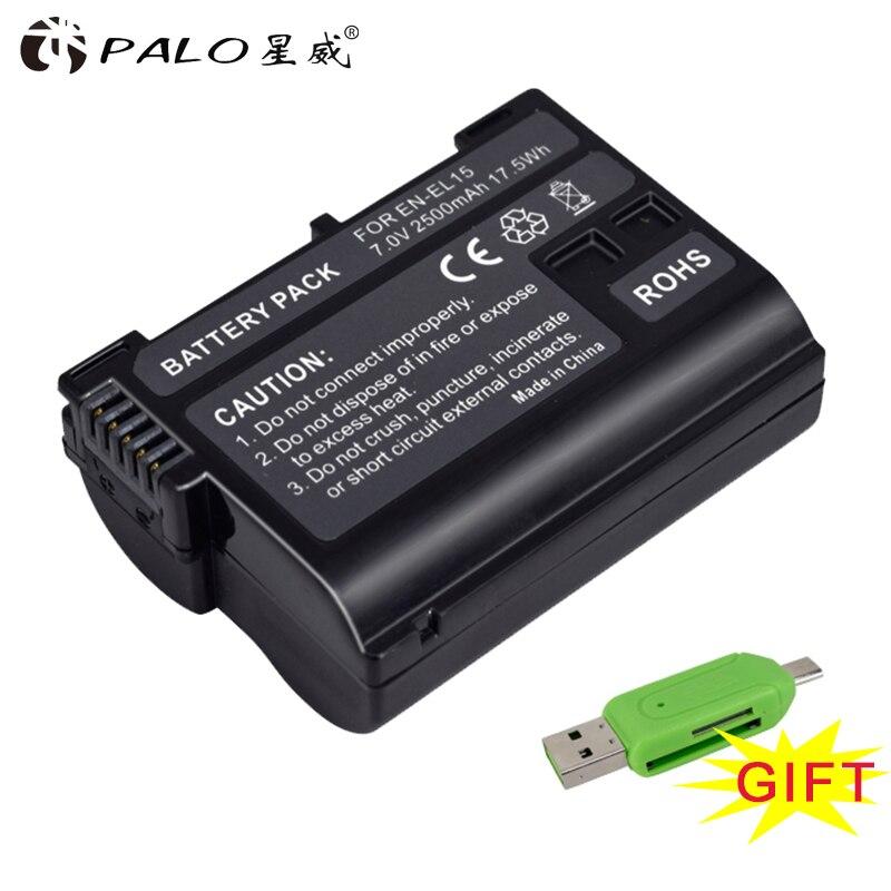 Alta calidad 2500 mAh EN-EL15 ENEL15 EN EL15 Cámara decoded batería para Nikon DSLR D600 D610 D800 D800E D810 D7000 d7100 D7200 V1