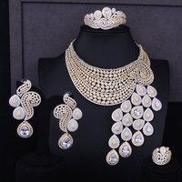 GODKI Big Luxury Peacock Tail Women Engagement Cubic Zirconia Necklace Earring Dubai Jewelry Set Jewellery Addiction