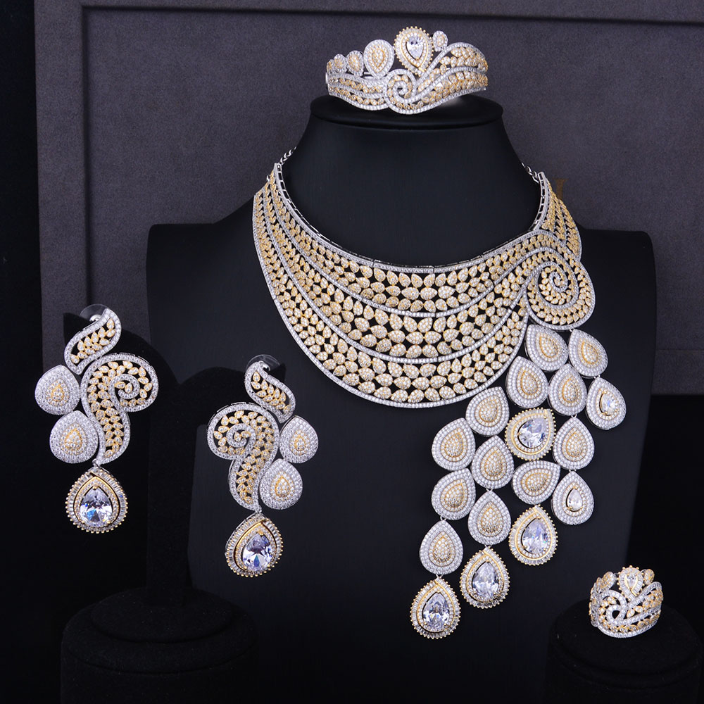 GODKI Big Luxury Peacock Tail Women Engagement Cubic Zirconia Necklace Earring Dubai Jewelry Set Jewellery Addiction
