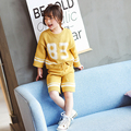 In the spring of 2017 the new suit for girls knit jacket and trousers two piece suit children sweater backing