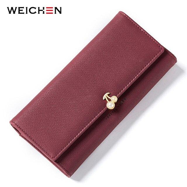 WEICHEN Fashion Fruit Pattern Women Wallets Pearl Element Leather Long Wallet Female Brand Card Holder Ladies Purse Carteira Hot