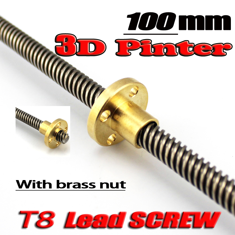 3D Printer T8 screw THSL-100-8D Trapezoidal Lead Screw Dia 8MM Pitch 1mm Lead 1mm Length 100mm with Copper Nut Free shipping t5 5mm screw 150mm length 1mm picth 2mm lead 304 stainless steel trapezoidal screw with brass copper nut 1pcs