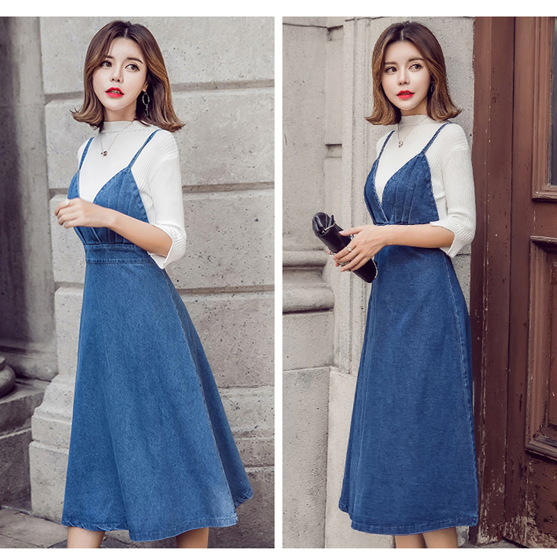 HTB1vJHIfnTI8KJjSsphq6AFppXaN - HziriP 2018 New Arrival Women Denim Dress Fashion Casual Ankle-Length desses for Ladies Spaghetti Strap Bodycon Vestido Female