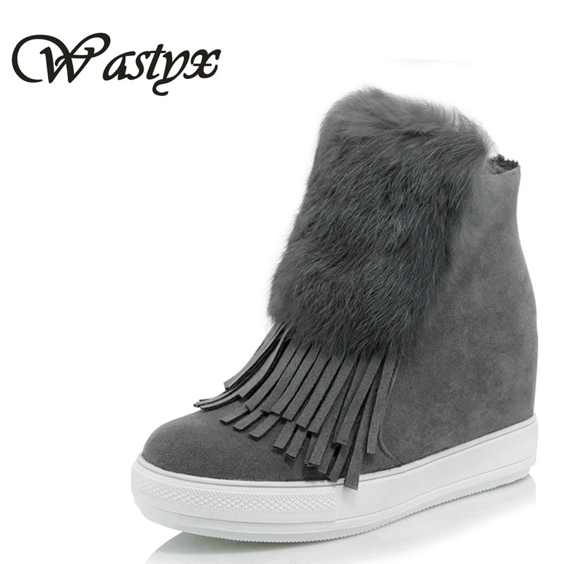 Warm Plush Snow Boots New 2016 Winter Fashion Tassel Ankle Boots Height Increasing Women Shoes Woman Platform Boots plus size 2016 new arrival ankle boots for women fashion winter shoes warm plush snow boots shoe bowtie women boots polka dot botas mujer