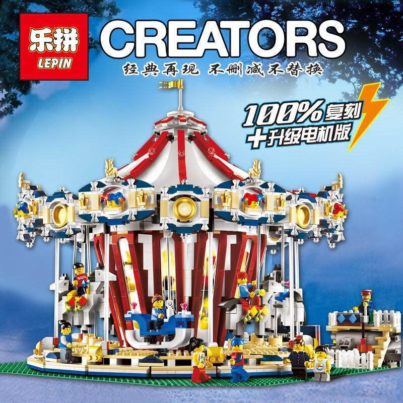 LEPIN 15013 3263Pcs City Expert Grand Carousel Model Building Kits Blocks Brick Toy Compatible legoed 10196 lepin 15013 city sreet carousel model building kits blocks toy compatible 10196 with funny children educational lovely gift toys