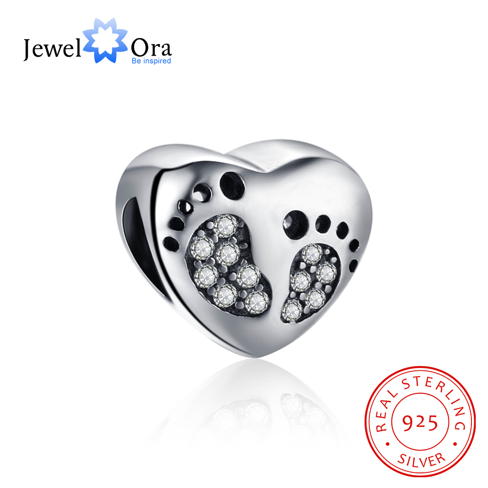 Heart Shape With Footprint 925 Sterling Silver Jewelry Components DIY Beads Charm For Bracelets & Bangles (JewelOra AS101594)