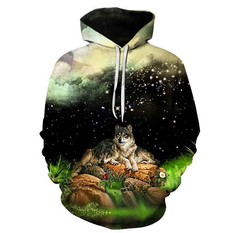 fb2304a38aa Волчья Голова 3d толстовки Для мужчин Для женщин толстовки с капюшоном  принт звезды Туманность осень