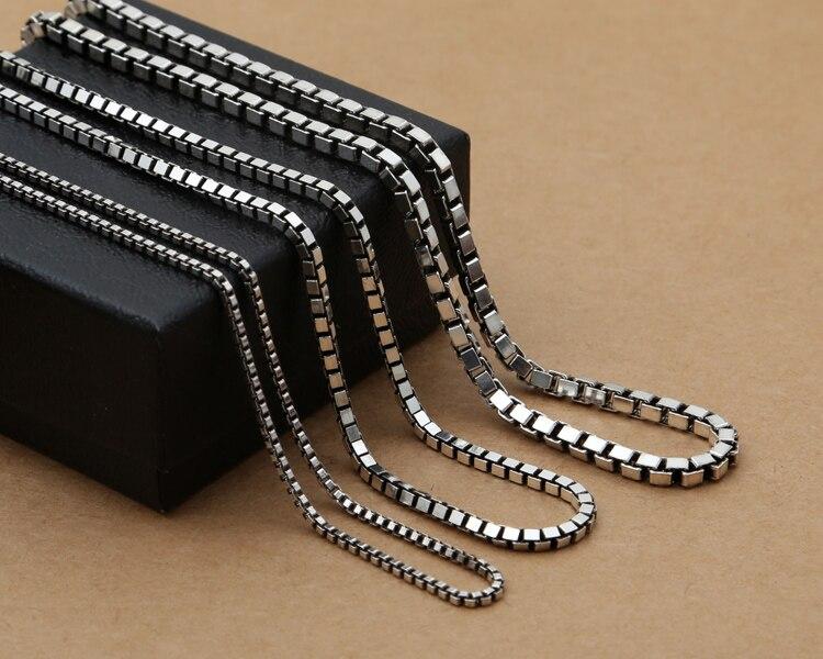 S925 argent sterling Thai, collier fait main rétro, chaîne de boîte hommes et femmes chaîne de clavicule de mode
