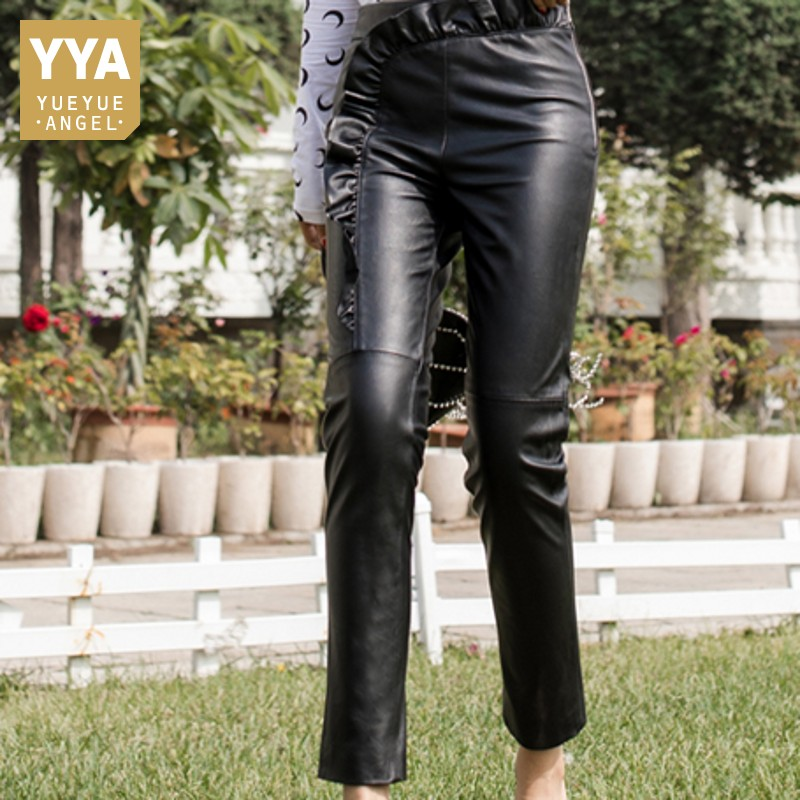 Autumn New Sheep Leather fashion Leather Pants Skiny tight Pencil Pants High Waist Slim Solid Ankle