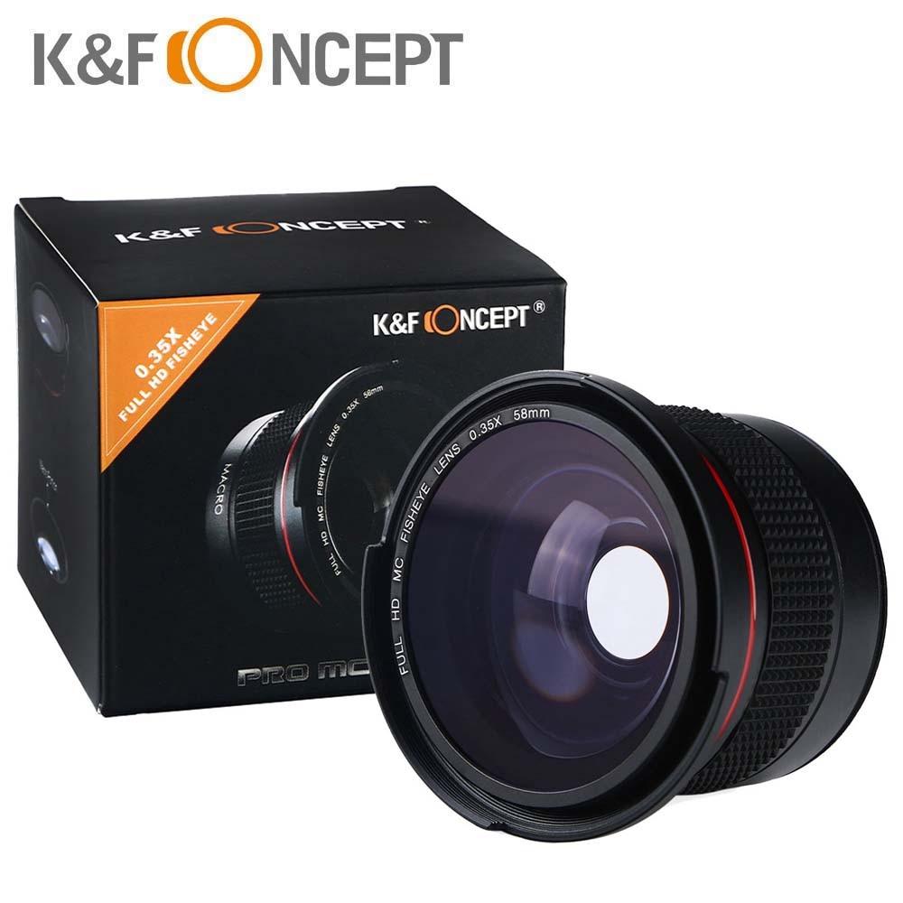 K & F CONCETTO HD 58mm 0.35x Obiettivo Della Fotocamera Fisheye Grandangolare Macro Lenti Per Canon 600d 700d 6d rebel T5i Nikon d3300 d5100 sony