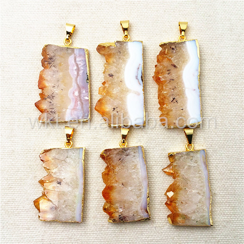 WT-P969 WKT Natural Yellow Stone Pendant with 24k gold Electroplated,Raw Stone Pendant Wholesale 5pcs/lot