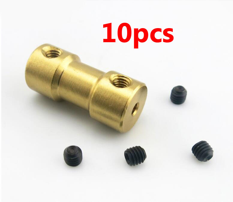 10pcs Copper Coupling Drive Shaft Connector Motor Shaft Couplings 2/2.3/3/4/5mm to 2/3/3.17/4/5/6mm with Screws for RC Boat Car  цены