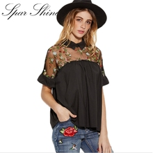 SPARSHINE Summer Tops Black Flower Embroidered Sheer Neck Ruffle Cuff Tie Back Top Woman Short Sleeve Vintage Blouse