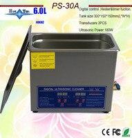 Globe Gratis Verzending AC110V/220 V Digitale Verwarmde Ultrasone Reiniger 6.0Ldental PS 30A Met Timer En Verwarming 40 Khz met Gratis Mand-in Ultrasone reinigers van Huishoudelijk Apparatuur op