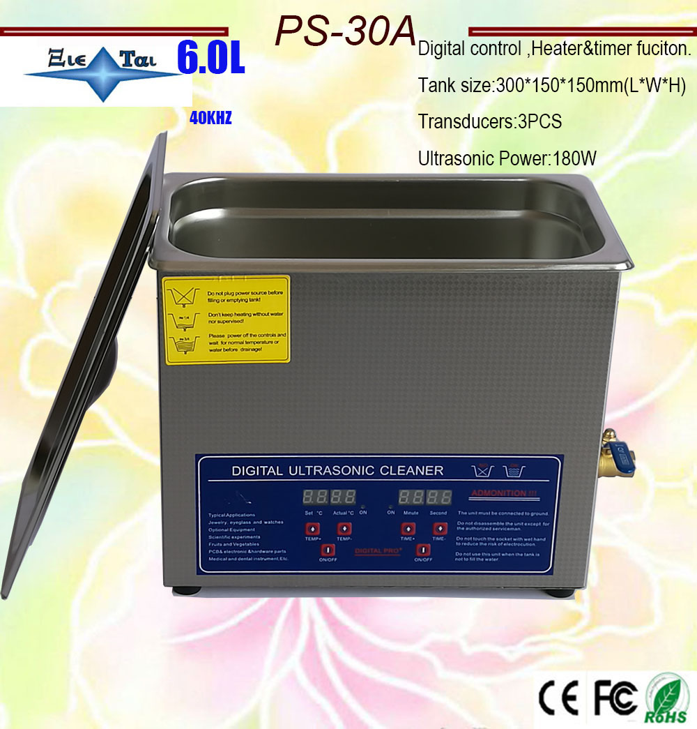 Globe   AC110V/220V Digital Heated Ultrasonic Cleaner 6.0Ldental PS-30A With Timer&heater 40KHz With Free Basket