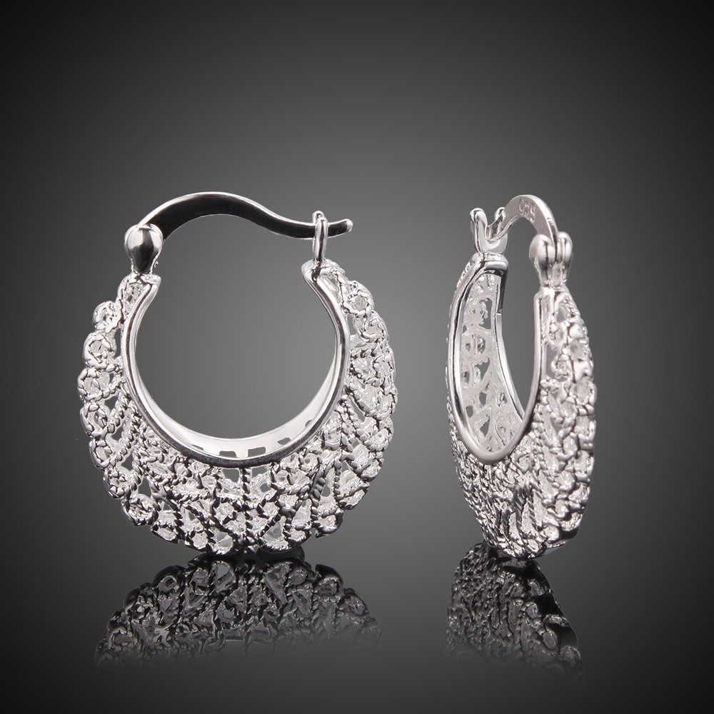 Vintage Hollow Earrings 925 Pure silver Fashion Chic Jewelry Party Round Basketball Wives Hoop Earrings for Women Gift Sale