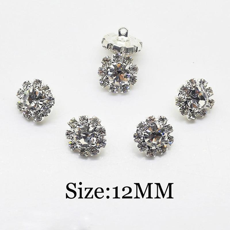 12mm 10pcs Clear Crystal Rhinestone Button , Crystal Button Wedding Decoration Accessory.